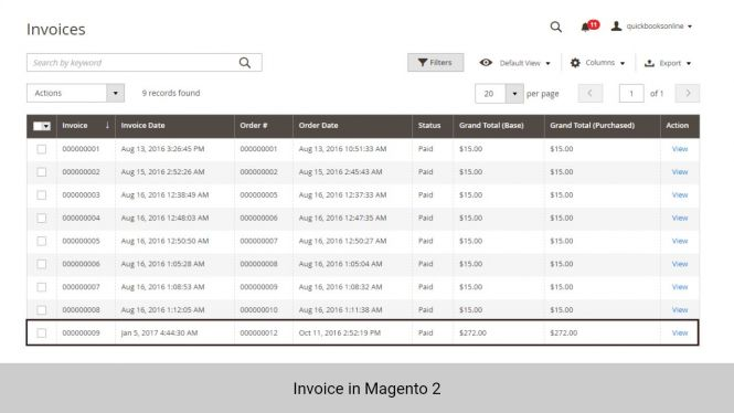 Invoice created in Magento 2
