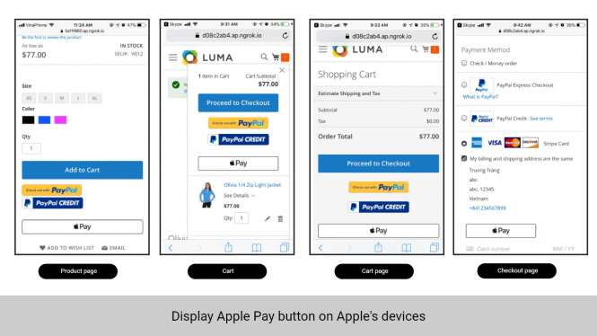 Magento 2 Stripe Payment Extension Display apple pay button