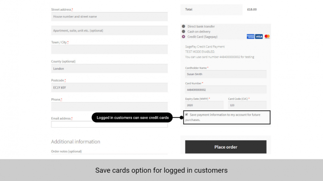 Logged in customers can save cards for future purchase
