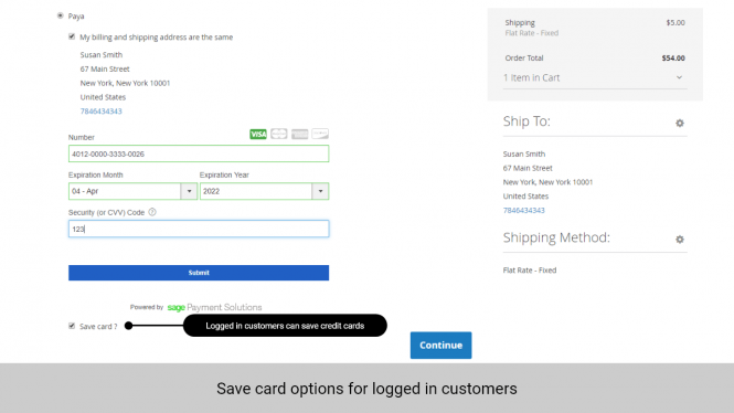 Logged in customers can save credit cards for future Paya payments