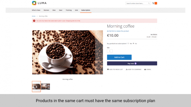 Magento 2 Subscription and Recurring Payments same subscription plan
