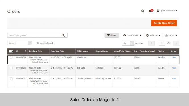 Sales Orders in Magento 2