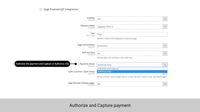 Admin can set up to Authorize the payment only or Authorize and capture