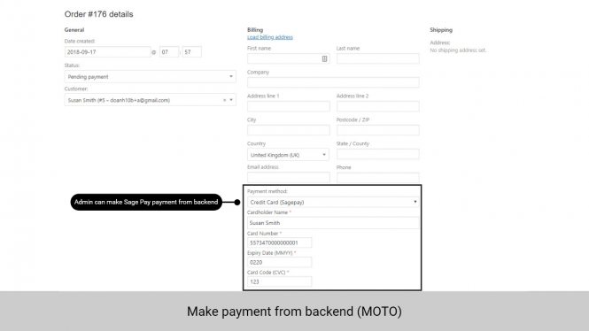 Admin can make payment from backend for customers who order via telephones or emails (MOTO)