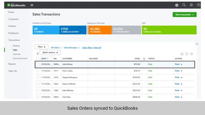 Sales Orders from Magento 2 synchronized to QuickBooks