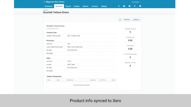 Product info in Magento 2 synced to Inventory in Xero