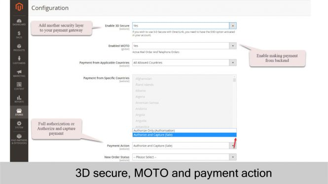 Barclays 3D Secure, MOTO and Payment Action Settings