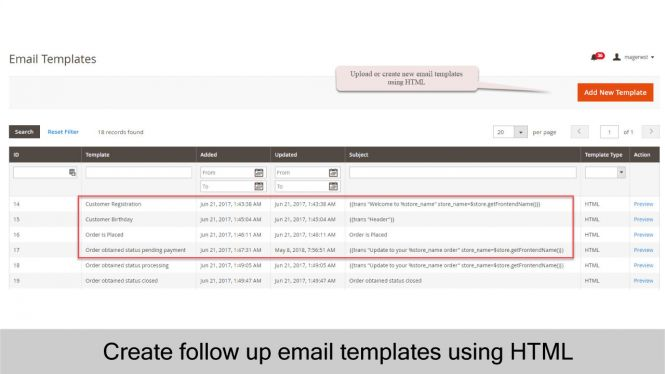 Design follow up email templates using HTML