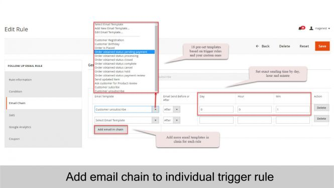 Admin can add email chain to individual trigger rule with email templates and time setting