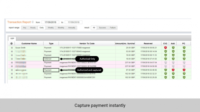 Admin can enable Sage Pay to authorize and capture the fund immediately