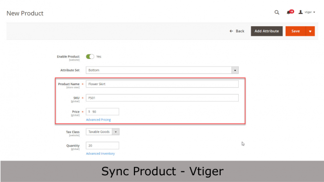 Synchronize Products from Magento to Vtiger