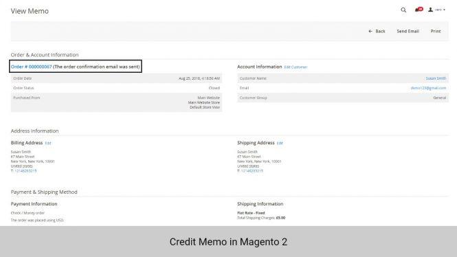 Credit memo info in Magento 2