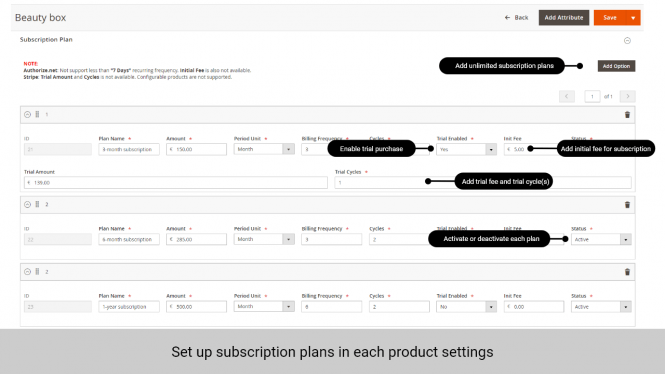Magento 2 Subscription and Recurring Payments  set up plan