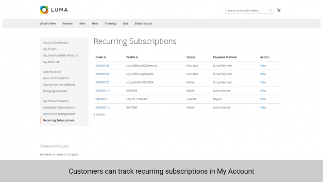 Magento 2 Subscription and Recurring Payments track recurring subsscription