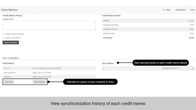 Admin can view sync history of each credit memo in the memo details