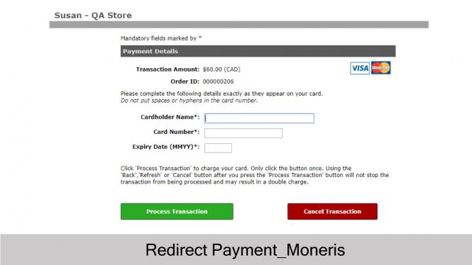 Moneris Redirect Payment
