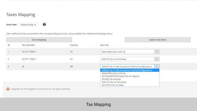 Admin can map taxes between Magento 2 and Xero