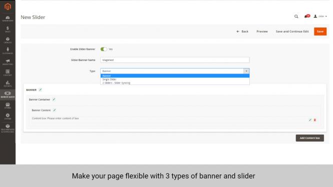 Magento 2 Banner Slider 3 types of banner and slider