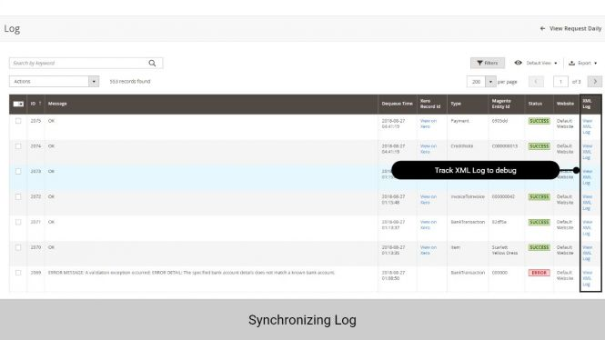 Admin can track the synchronization log