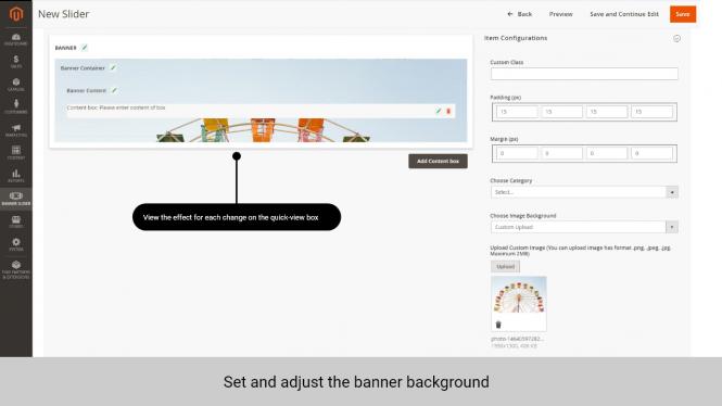Banner slider Magento 2 Set banner background