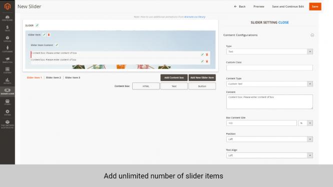 Magento slider extension add unlimited number of slider items