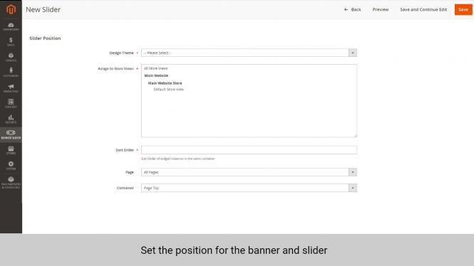 Magento 2 banner extension set position for banner and slider