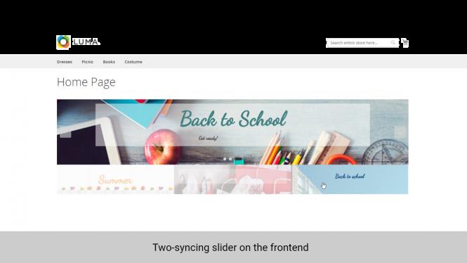 Magento 2 banner slider widget two-syncing slider