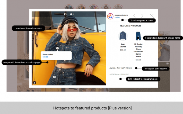 magento 2 instagram feed featured products on hotspots