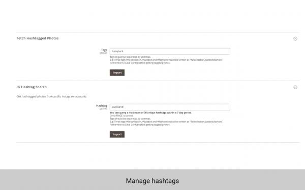 magento 2 instagram widget manage hashtags