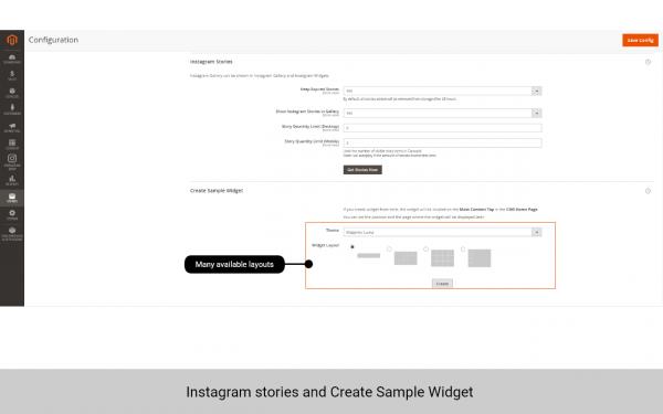 magento 2 instagram feed widget layout