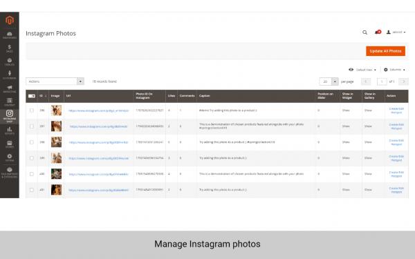 magento 2 instagram manage photos