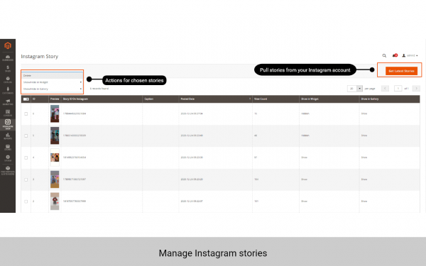 magento 2 instagram feed manage stories