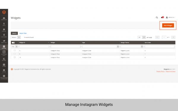 magento 2 instagram shop manage widget