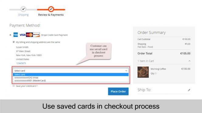 Magento 2 Stripe Payment Extension saved cards in checkout process
