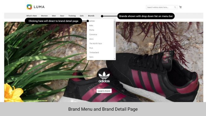 Magento 2 Shop By Brand on the menu bar and detail page