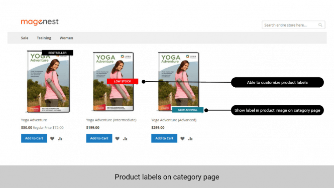 Product label is displayed on product image on category page