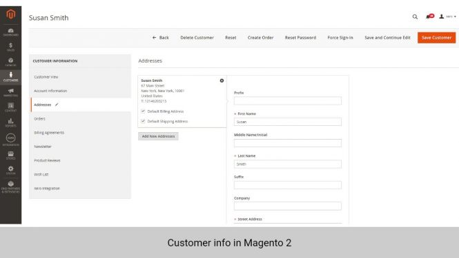 Customer info in Magento