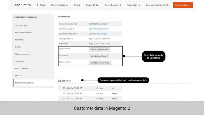 Admin can synchronize data directly and view synchronization history of customer in customer info