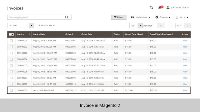 Invoice created in Magento 2