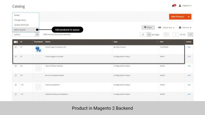 Admin can add products to queue to sync to Zoho CRM from Product grid table