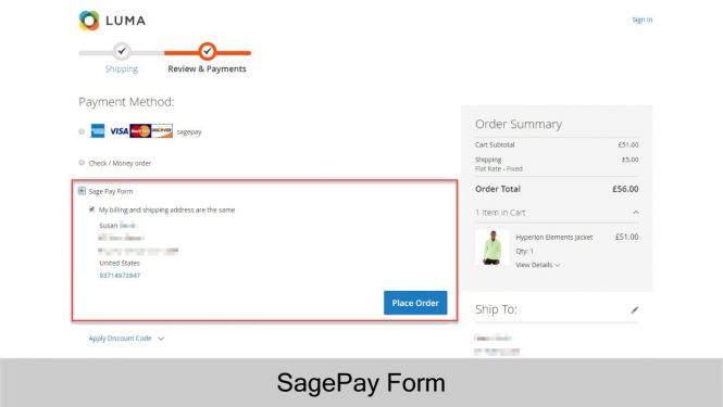 Customers can checkout with Sage Pay Form for better security