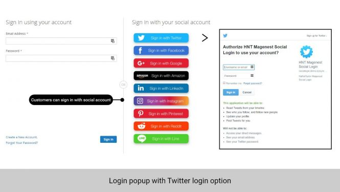 Customer can log in with Twitter