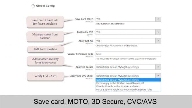 SagePay settings with save card, MOTO, 3D Secure, CVC/AVS Verification