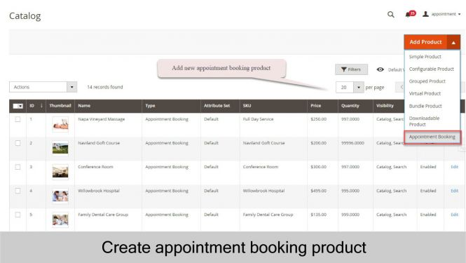 Create appointment booking product from scratch