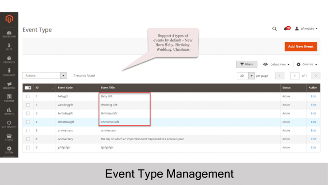 Gift Registry for Magento 2 Event Type
