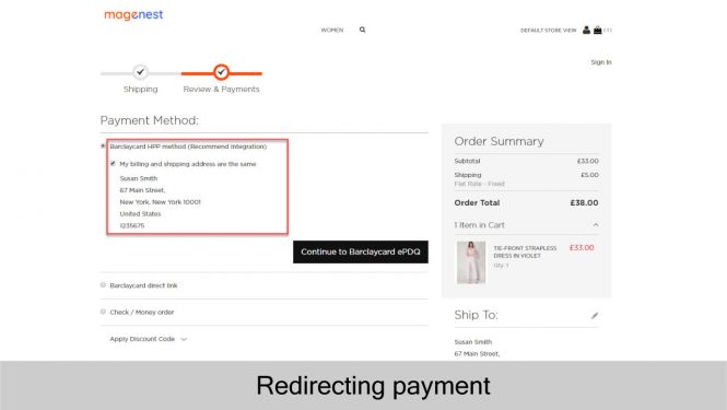 Barclaycard redirect payment