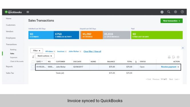 Invoice from Magento 2 synchronized to QuickBooks