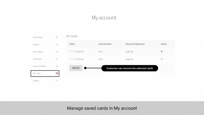 Credit cards are tokenized for security. Customers can manage saved cards in My account