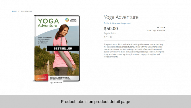 Product label is displayed on product detail page