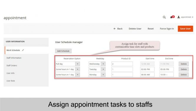 Assign appointment tasks to staffs based on available schedules